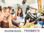 group of young people employee... | Shutterstock . vector #790588573