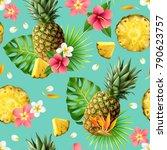 realistic pineapple seamless... | Shutterstock .eps vector #790623757