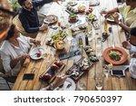 group of men and women enjoying ... | Shutterstock . vector #790650397