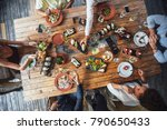 from above photo of hands of... | Shutterstock . vector #790650433