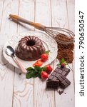 chocolate pudding with... | Shutterstock . vector #790650547