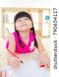 asian child drawing picture... | Shutterstock . vector #790654117