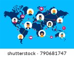 social network world connection ... | Shutterstock .eps vector #790681747