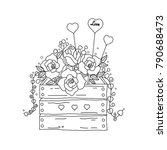 coloring book page of flower... | Shutterstock .eps vector #790688473