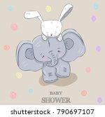 Stock vector cute elephant rabbit hand drawn illustration 790697107