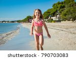 cute happy little girl running... | Shutterstock . vector #790703083