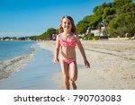 Cute Happy Little Girl Running...