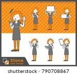 2tone type bob hair dress... | Shutterstock .eps vector #790708867