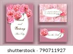 pink roses  wedding  invitation ... | Shutterstock .eps vector #790711927