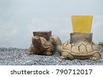 Two Of Gold Turtles Sculpture...