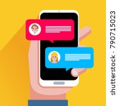 chat messages notification on... | Shutterstock .eps vector #790715023