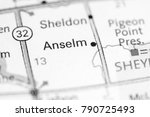 Small photo of Anselm. North Dakota. USA on a map.