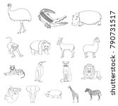 different animals outline icons ... | Shutterstock .eps vector #790731517