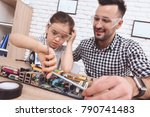 the man is fixing the... | Shutterstock . vector #790741483