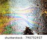 oil spill on asphalt road... | Shutterstock . vector #790752937