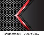 abstract red arrow gray metal... | Shutterstock .eps vector #790753567