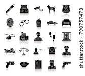 police drop shadow black glyph... | Shutterstock .eps vector #790757473