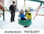 two little boy ride on a swing... | Shutterstock . vector #790761097