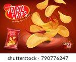 spicy chilli potato chips... | Shutterstock .eps vector #790776247