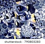 garden flower collage | Shutterstock . vector #790803283