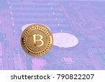 golden bitcoin on the... | Shutterstock . vector #790822207