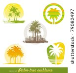 Vector Set   Palm Tree Emblems...