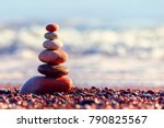 pyramid of colorful  balanced... | Shutterstock . vector #790825567