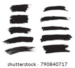 vector black brush strokes set | Shutterstock .eps vector #790840717