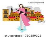 vietnamese woman holding gun in ... | Shutterstock .eps vector #790859323