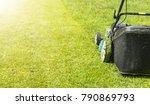 mowing lawns  lawn mower on... | Shutterstock . vector #790869793