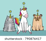 a unicorn and her pets. a cat ... | Shutterstock .eps vector #790876417