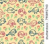 cute little hand drawn birds... | Shutterstock .eps vector #790892743