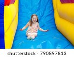 child jumping on colorful... | Shutterstock . vector #790897813