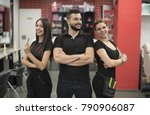 three hairdressers posing in... | Shutterstock . vector #790906087