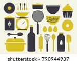 baking icons and kitchen... | Shutterstock .eps vector #790944937