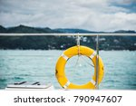 close up yellow life ring...   Shutterstock . vector #790947607