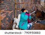 homeless woman bum | Shutterstock . vector #790950883