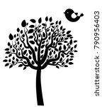 vector black tree silhouette... | Shutterstock .eps vector #790956403