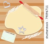baking,butcher block,cookie,cookie cutters,cooking,cutting board,dough,flour,heart,index card,invitation,kitchen,party,preparing,recipe