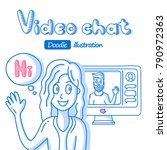 girl talking to man on video... | Shutterstock .eps vector #790972363