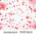 heart confetti falling on... | Shutterstock .eps vector #790974013