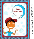 boy thinking happy father's day | Shutterstock .eps vector #79099015