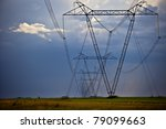 Big Power Lines And Man For...