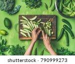 healthy green vegan cooking...   Shutterstock . vector #790999273