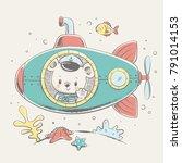 cute bear sailor on a submarine ... | Shutterstock .eps vector #791014153