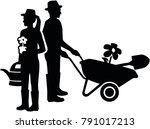silhouette of a gardener couple ... | Shutterstock .eps vector #791017213