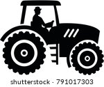 farmer tractor with male farmer | Shutterstock .eps vector #791017303