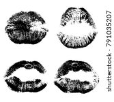 female kiss shape lips... | Shutterstock . vector #791035207