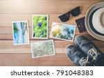 top view summer photo album on... | Shutterstock . vector #791048383