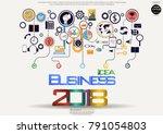 text  idea business 2018  ... | Shutterstock .eps vector #791054803